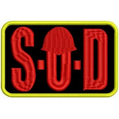 S.O.D sew on embroidered Patch