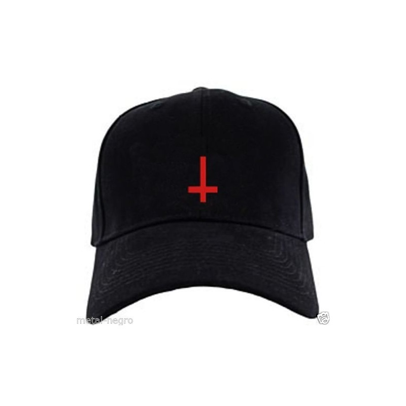 Inverted Cross Embroidered Cap Hat Metal Negro